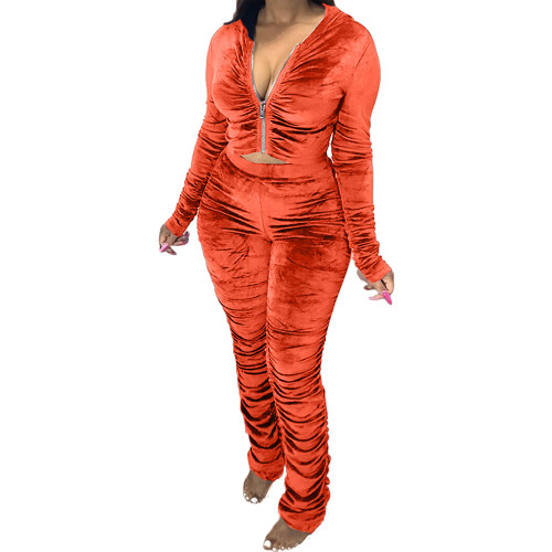 Orange  Two-piece pleated women's autumn and winter fashion casual suit