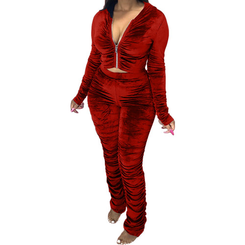 Red    Two-piece pleated women's autumn and winter fashion casual suit