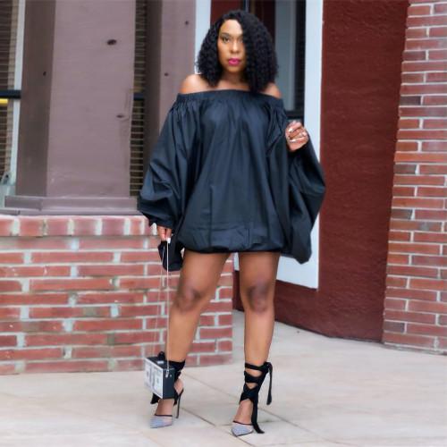 Black  Solid color one-shoulder lantern dress women's clothing