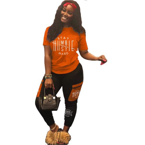 Orange Tide brand letter printed pants suit two-piece