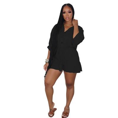Black Ruffled fashion sexy plus size jumpsuit jumpsuit