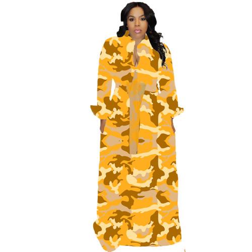 Yellow  Autumn and winter plus size women's sexy dress