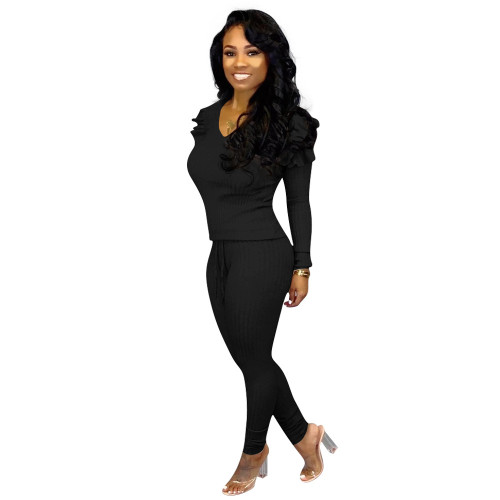 Black  Women's fashion casual suit with wood ears