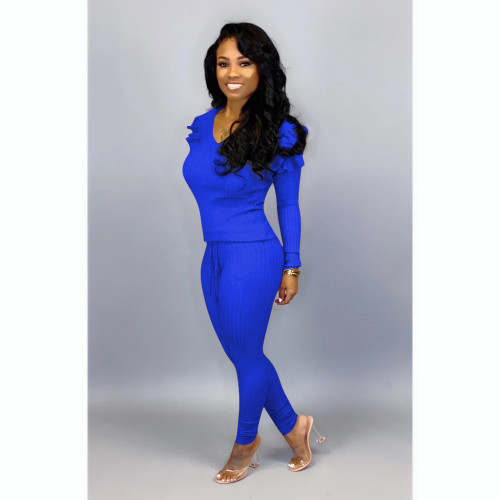 Blue  Women's fashion casual suit with wood ears