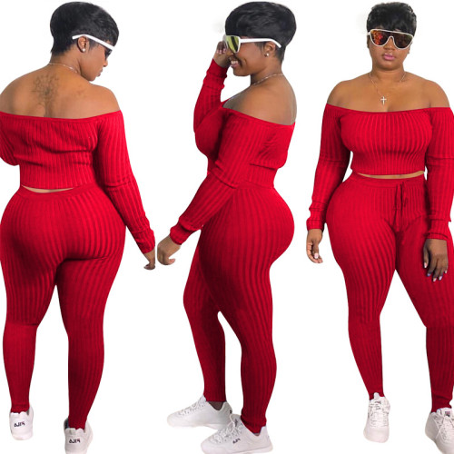 Red    Fashion casual sports suit, one-shoulder sexy women's clothing