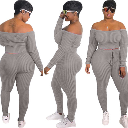 Grey   Fashion casual sports suit, one-shoulder sexy women's clothing
