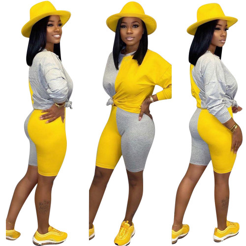 Yellow  Color block stitching autumn and winter new women's fashion casual suit