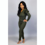 Army Green   Women's fashion casual suit with wood ears