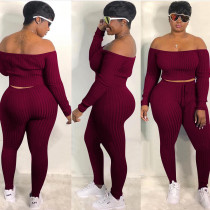 Wine  Red   Fashion casual sports suit, one-shoulder sexy women's clothing