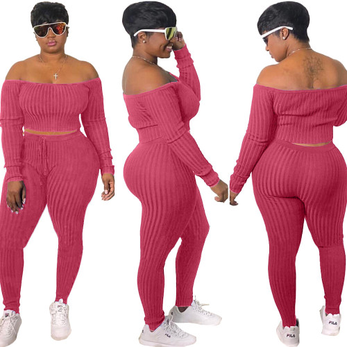 watermelon red    Fashion casual sports suit, one-shoulder sexy women's clothing