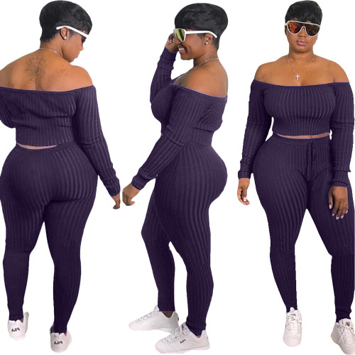 Purple  Fashion casual sports suit, one-shoulder sexy women's clothing