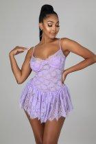 Light purple Lace chest rest, eyelashes, fold adjustable straps, sexy dress women