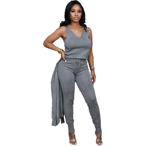 Grey   Autumn and winter new 3-piece women's clothing fashion casual suit