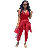 Red  Autumn and winter new 3-piece women's clothing fashion casual suit