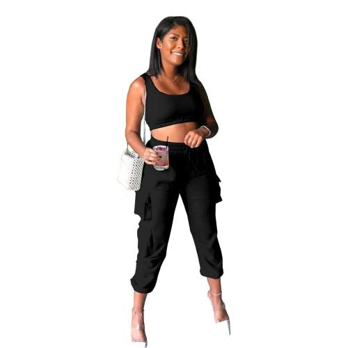 Black   Yoga suit Fashion casual pants suit