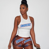 White brown   Street style printed tank top shorts tracksuit