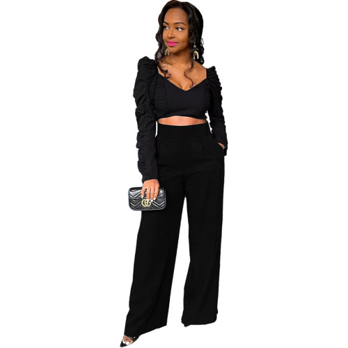 Sexy solid color pocket pleated waist loose top trousers two-piece suit