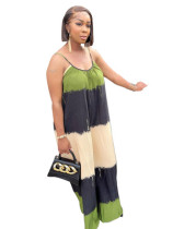 Low-cut loose print striped long skirt