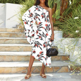 Women's printed diagonal collar sexy off-the-shoulder holiday casual dress
