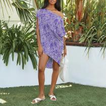 Purple Polka dot print oblique collar short sleeve loose casual dress women