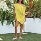 Yellow Polka dot print oblique collar short sleeve loose casual dress women