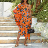Orange Women's printed diagonal collar sexy off-the-shoulder holiday casual dress