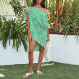 Green Polka dot print oblique collar short sleeve loose casual dress women