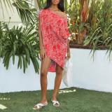 Red Polka dot print oblique collar short sleeve loose casual dress women