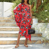 Red Women's printed diagonal collar sexy off-the-shoulder holiday casual dress