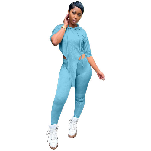 Water blue  Personalized top hooded trousers tight-fitting sexy two-piece suit