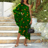 Army green Women's printed diagonal collar sexy off-the-shoulder holiday casual dress
