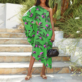 Green Women's printed diagonal collar sexy off-the-shoulder holiday casual dress