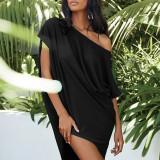 Black Solid color slant collar sexy off-shoulder short-sleeved irregular dress
