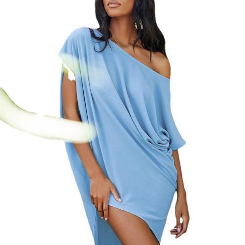 Light bule Solid color slant collar sexy off-shoulder short-sleeved irregular dress