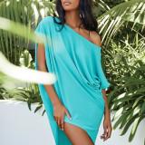Green Solid color slant collar sexy off-shoulder short-sleeved irregular dress