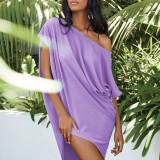 Purple Solid color slant collar sexy off-shoulder short-sleeved irregular dress