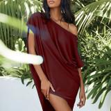 Claret Solid color slant collar sexy off-shoulder short-sleeved irregular dress
