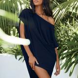 Dark bule Solid color slant collar sexy off-shoulder short-sleeved irregular dress