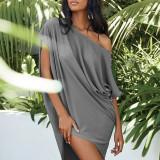 Gray Solid color slant collar sexy off-shoulder short-sleeved irregular dress