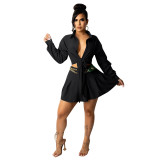 Fashion Cardigan Pleated Skirt Office Set