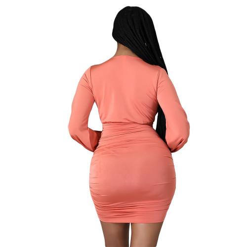 Orange Solid color V-neck sexy pleated ruffled irregular hip skirt dress