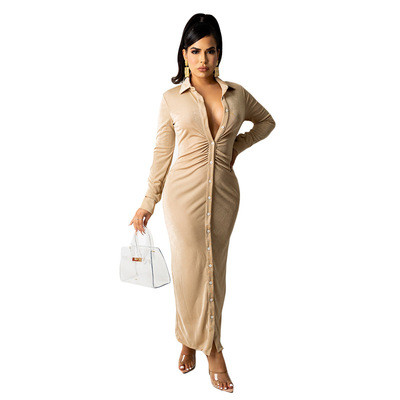 Women's fashion sexy long-sleeved solid color pleated shirt long skirt dress