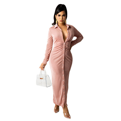 Pink Women's fashion sexy long-sleeved solid color pleated shirt long skirt dress