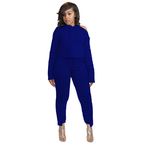 Dark blue  Unilateral off-shoulder hoodie irregular trouser legs casual sports two-piece suit