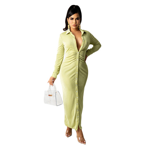 Green Women's fashion sexy long-sleeved solid color pleated shirt long skirt dress