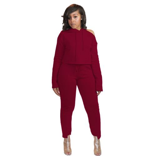 Wine red    Unilateral off-shoulder hoodie irregular trouser legs casual sports two-piece suit