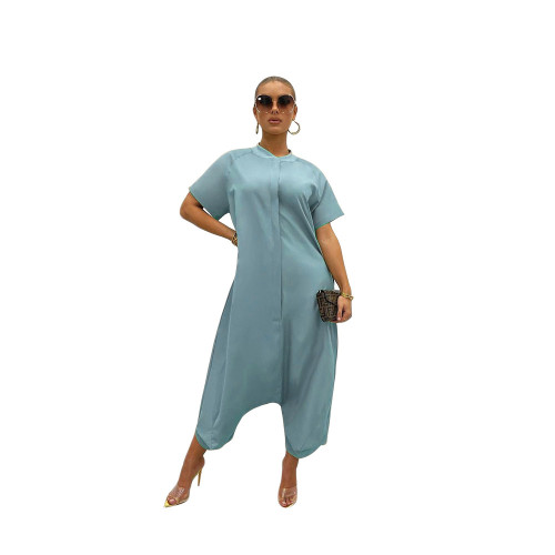 Light bule Pure color loose and thin short-sleeved wide-leg jumpsuit one-piece pants