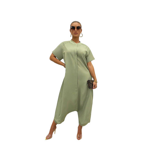 Light green Pure color loose and thin short-sleeved wide-leg jumpsuit one-piece pants