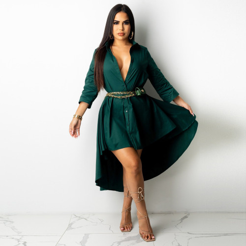 Bule Irregular half sleeve long shirt dress