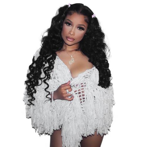 White Fashion Handmade Fringed Cardigan Woolen Jacket